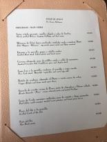 Cardápio com os preços dos pratos principais